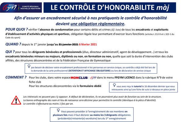 LE CONTRÔLE D'HONORABILITE màj